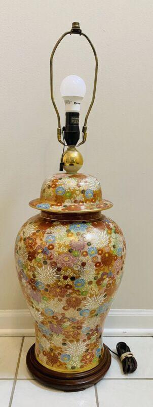 "34"" Satsuma Fujita Kutani Lamp Japanese Porcelain Ginger Jar Vase 1000 Flowers"