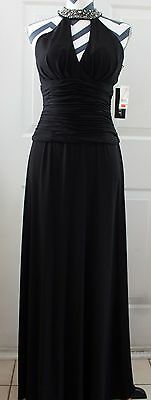 New Nwt Cachet Black Embroidered Maxi Full Length Halter Dress Size 4  109