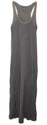 Anthropologie Velvet Graham & Spencer Gray Cotton Tencel Striped Maxi Dress Sz L