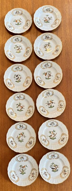 🦋 MINT Rare HEREND COMPLETE SET OF 12 Rothschild Bird BAROQUE Salad Plates