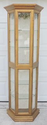 (Antique/Vtg Octagon Gold Wood Glass Lighted Curio China Cabinet Display Case)