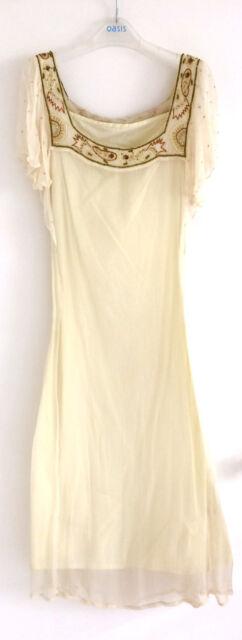 Topshop Size 12 Eu40 Cream Chiffon Dress Beaded Sequin 20s Wedding