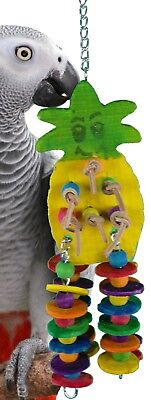 1733 MEDIUM PINEAPPLE WOOD BIRD TOY parrot cage toys cages African grey conure