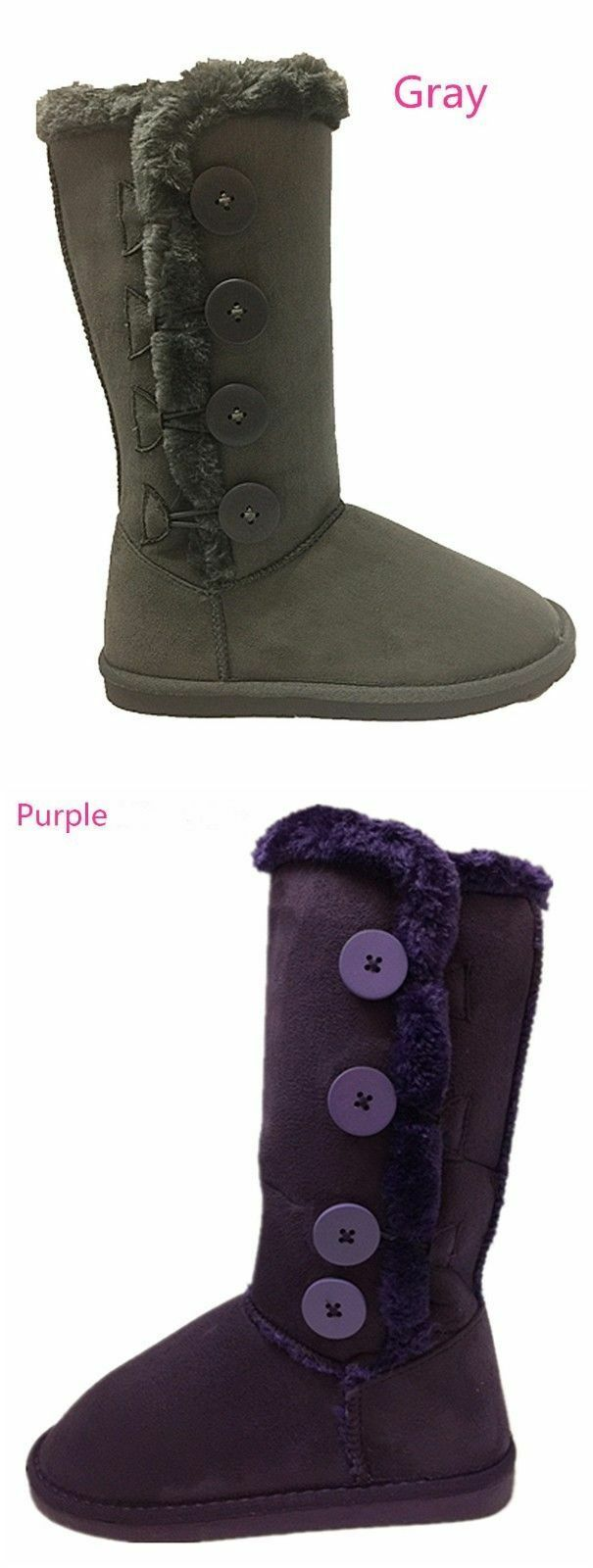 New Women's Button Fur Winter Snow Boots Faux Suede Calf Warm Flat Shoes