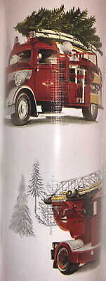 Tommy Bahama RED FIRE TRUCKS WITH CHRISTMAS TREES WRAPPING PAPER.  NWT. -
