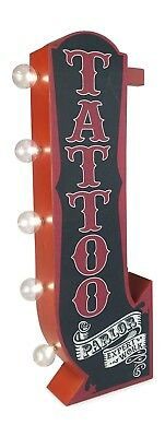 (Tattoo Parlor Arrow Double Sided Metal Sign W/ LED Lights Man Cave Beer Bar Shop)