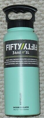 NEW FIFTY FIFTY 34 oz 1L DOUBLE WALL VACUUM INSULATED WATER BOTTLE  Green 1l Wall