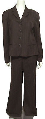 New Ralph Lauren 100% Wool Brown Pinstripe Suit 16 Blazer Jacket + Pants Set XL