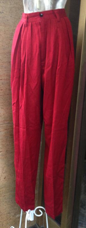Vtg 80s Hi Waist Skinny Leg Pleated Trouser Annie Hall Look M Pants Grunge Punk