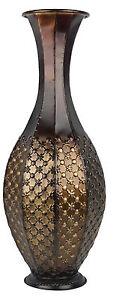 Large Tall Floor Standing Vase. Stunning Round Bronze Metal Vase