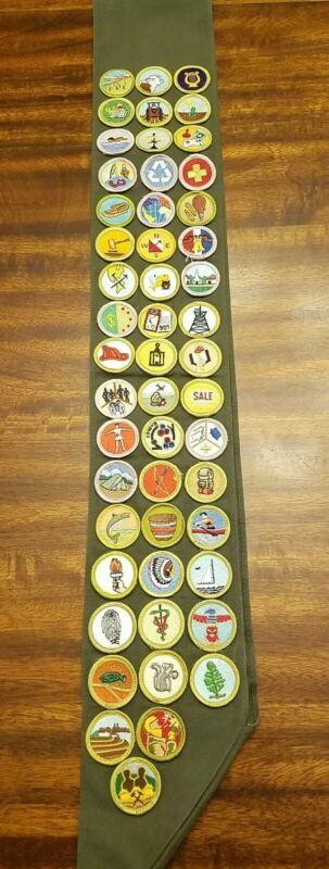 BSA Boy Scout Awards Merit Badge Sash With 51 Sewn-On Badges
