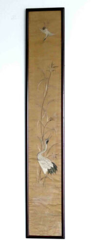 """Antique Japanese Silk Tapestry With Cranes 40"""" Tall Framed"""