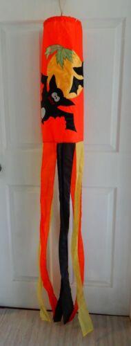 Halloween wind sock bats full moon flag hanging decoration orange black & yellow