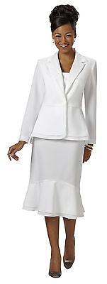 Wear Abouts Plus 2-pc. Cutout Skirt Suit White Size 16W