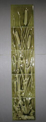 Circa 1890s American Encaustic Tiles, Cattails, 5-Tile Vertical Panel