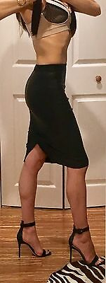 800 Helmut Lang Plonge Leather Pencil Skirt  Sz 0 Black Wardrobe Essential