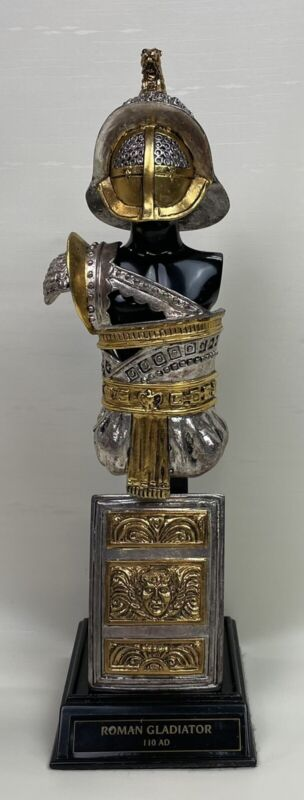 Franklin Mint Roman Gladiator Silver & Gold Plated Pewter Armor & Display Stand