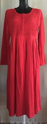NEW! Red Cotton Jersey Dress Smocked Beaded Pleated Inseam Pockets- Paragon