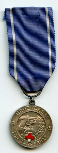 FINLAND WWII 1941 SILVER MEDAL OF LIBERTY RED CROSS 1ST CLASS