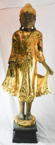 Antique Burma / Mandalay Wooden Buddha  Guided Figurine ~  39 inches tall