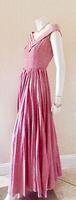 VTG 40's Fine Needlepoint Rayon Full Length Off The Shoulder Rose Pink Dress Sm