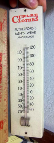 vintage Metal Thermometer 1930s Curlees Clothes Anchorage Alaska, still works