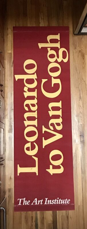 """PAIR OF USED ORIGINAL ART INSTITUTE OF CHICAGO BANNERS LARGE 31"""" x 98 FreeShip"""
