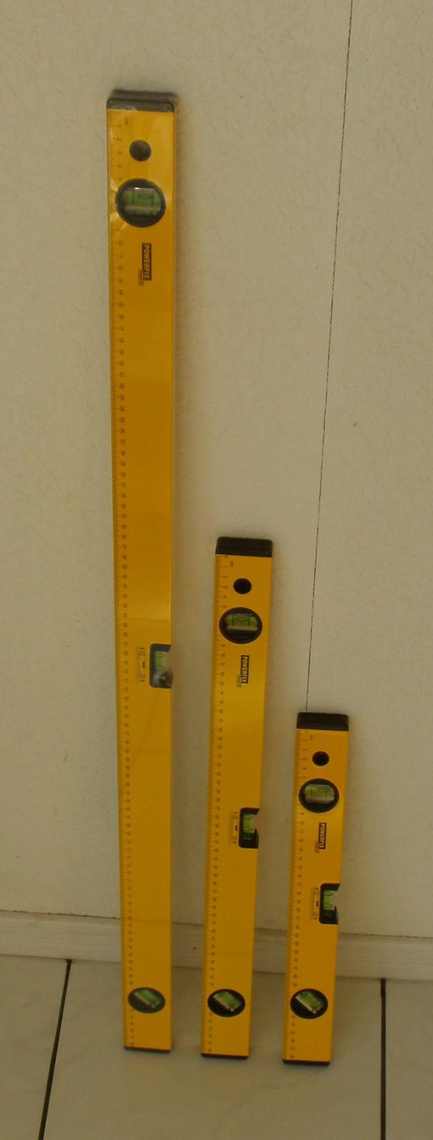 Alu Wasserwaage 3er Set 40 / 60 / 100 cm, 3 Libellen 45° 90° 180°  Winkelmessung