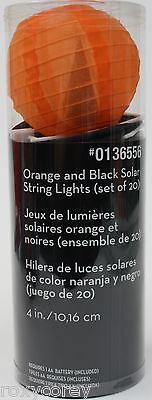 Halloween Set of 20 - 10 Orange 10 Black Ball Lantern Solar String Light Set - Balls Halloween