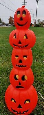 "Don Featherstone Stacked Totem Pumpkin Jack O' Lantern Pumpkins Blow Mold 34"""