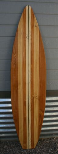 """Surfboard wall art, stained wood surfboard, vintage style, surf decor, 16"""" x 66"""""""