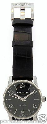 Mont Blanc  Diamond Time Walker Gents Wrist Watch Stainless Black Dial M29430