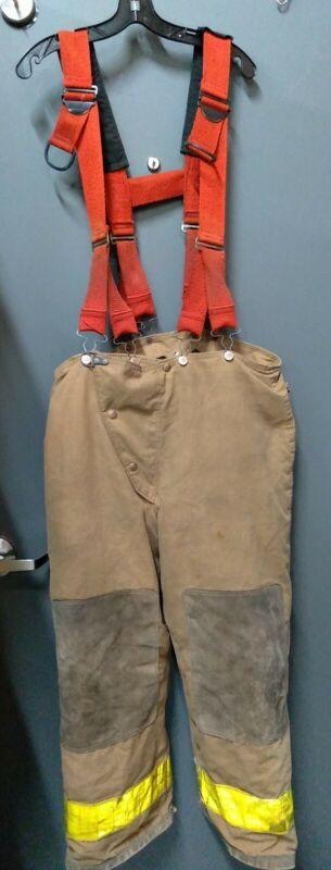 Vintage Globe Firefighter Suit ~ Pants & Suspenders~ Sz 36 28 ~1989~