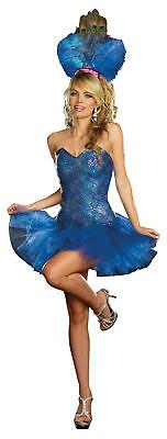 Peacock Skirt Costume (Peacock Envy Adult Womens Costume Dress Tutu Skirt Showgirl Las Vegas)