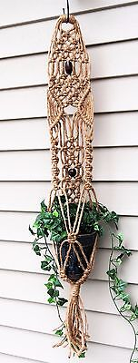 Jute Macrame Plant Hanger, hanging planter, hippie home decor small plant holder