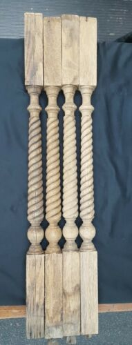 Architectural Salvage 4 Wooden Spindles Balusters Spiral Design