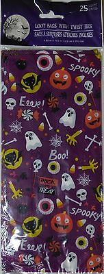 New Halloween Treat Bags Cello 25 Count Pack ~ EEK! Ghost & Bats ~ FREE SHIPPING