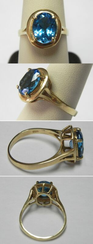 C393 Vintage 14K Solid Yellow Gold 3,75ct Blue Topaz Cocktail Ring, Size 9