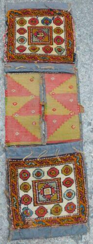 Antique Tribal Nomad Oriental Rug 1910 Pile Face Flat Weave Leather Saddle bag