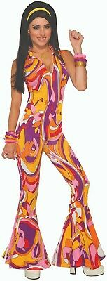 Disco Fever Halloween Costumes (Adult Funky Lady Disco Fever 70s Hippie Groovy Halloween Costume)