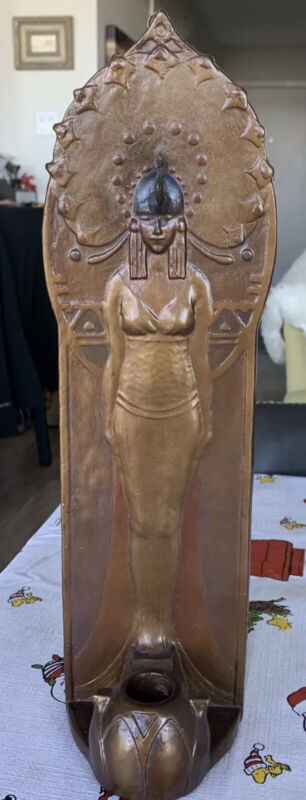 ANTIQUE 1920's ART DECO EGYPTIAN REVIVAL CLEOPATRA CANDLE HOLDER CANDLESTICK