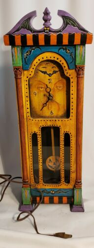 "Morgue Sale: Halloween 20"" Spookylvania OOAK Handpainted Electric Pendulum Clock"