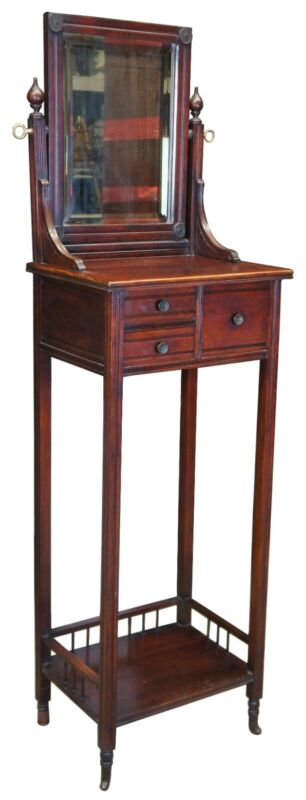 Antique Victorian Eastlake Mahogany Gentlemans Shaving Stand with Mirror
