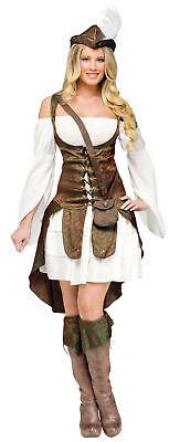 Robin Hood Adult Women's Costume Brocade Weskit Shoulder Fancy Dress - Robin Hood Fancy Dress Women
