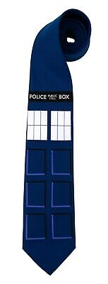 Dr Doctor Who Costume Tardis Police Public Call Box Adult Necktie Tie Elope