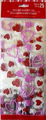 Valentine's Day ~25 Treat Bags w/ Ties Treat Goody Plastic Bags~ Multi Hearts - Valentine Goodie Bags