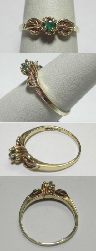C1032 Vintage 14K Solid Yellow Gold Emerald Leaf Ring, Sz 8