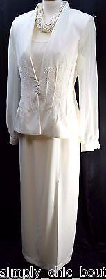 J.R. Nites Caliendo 2 Pc Formal Evening sheath gown Dress Jacket beaded SZ 6 NEW