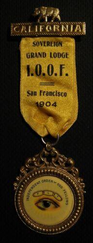 1904 IOOF ODD FELLOWS MEDAL BADGE - ALL SEEING EYE - SAN FRANCISCO CA CALIFORNIA