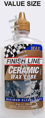 Finish Line Ceramic Wax Bike Lube Chain Oil Drip Bottle Economy Size 4Oz Ounce